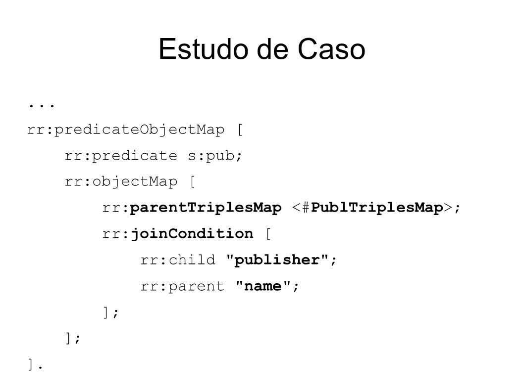 Estudo de Caso ... rr:predicateObjectMap [ rr:predicate s:pub;